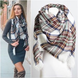 Infinity Raine White Plaid Blanket Scarf